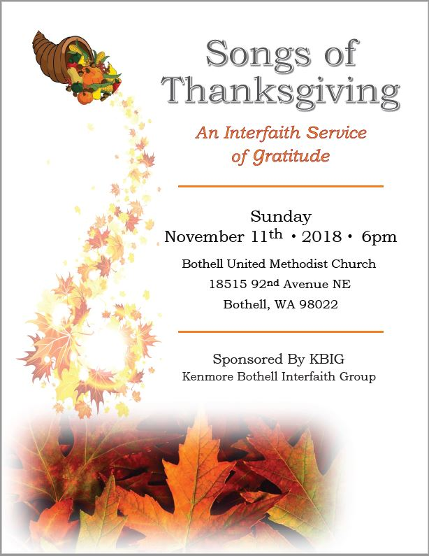 2018 Songs Of Thanksgiving Flyer